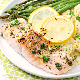 Sheet Pan Lemon, Garlic & Herb Salmon with Asparagus on a plate.