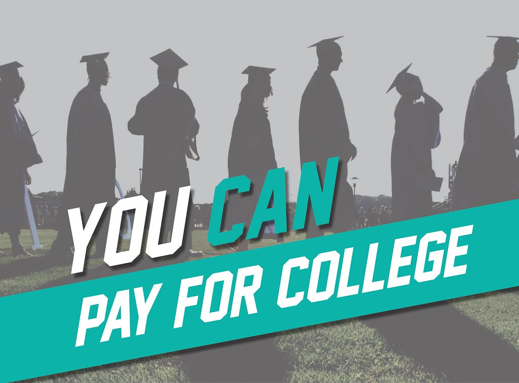 Graduates walking in a line with overlay text 'You Can Pay for College'