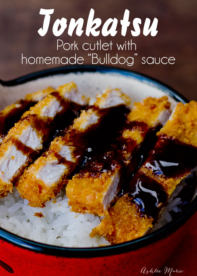 a classic japanese dinner - tonkatsu is a panko crusted pork cutlet served over rice and topped with a tangy tonkatsu sauce - recipe and video tutorial