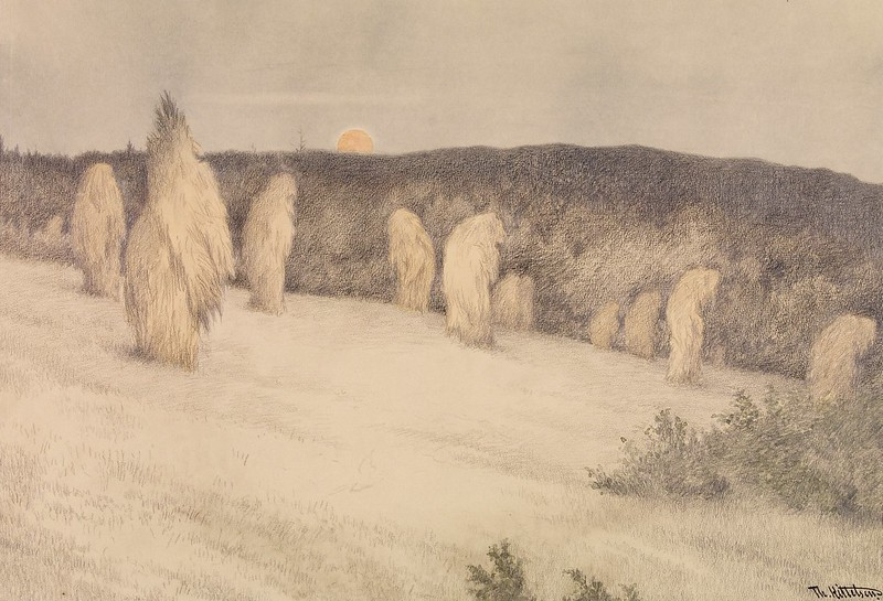 Theodor Kittelsen - Grain Restorer in Moonlight, 1900