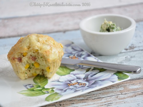 Corn and Bacon Muffins with Herb Butter
