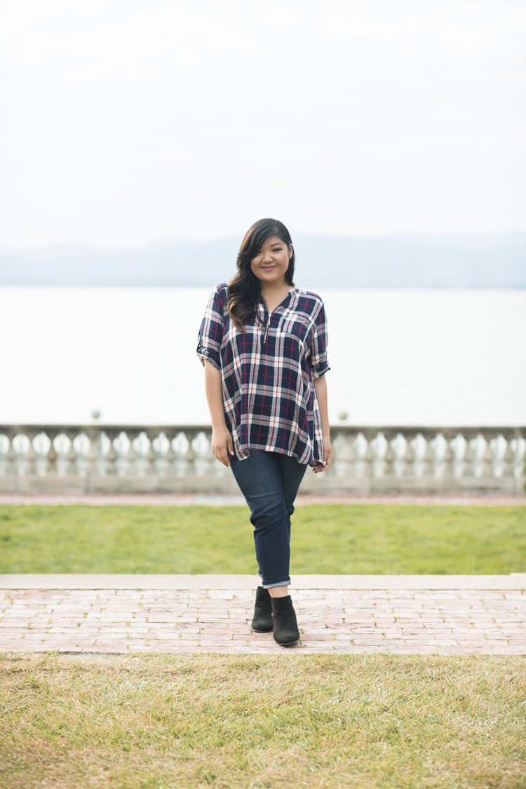 Curvy Girl Chic Plus Size Fashion Blog Vermont Inn at Shelburne Farms Catherines Fall Plaid Tunic Outfit