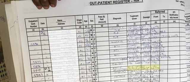 Out patients' register Lubwa Mission