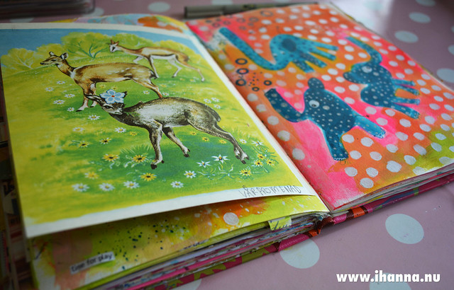 Art Journaling an be flying Elephants made by iHanna