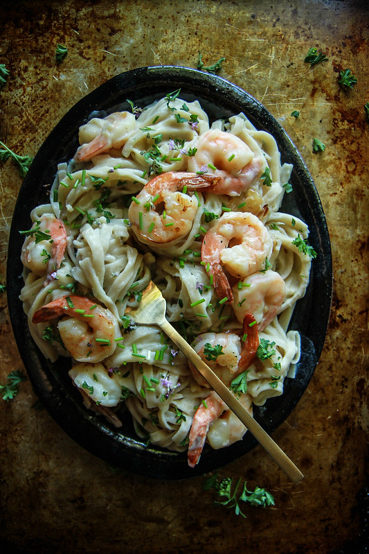 Creamy Cauliflower Fettucini Alfredo with Shrimp- Gluten and Dairy Free from HeatherChristo.com