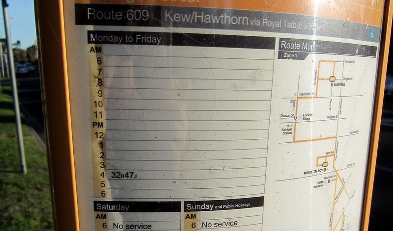 Bus 609 timetable outside Vicroads HQ