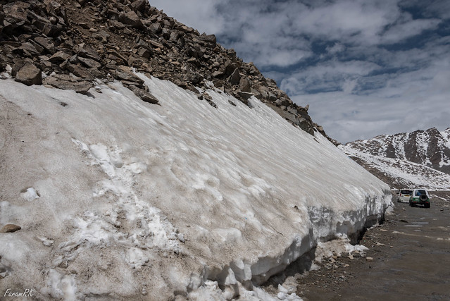 Ice along the Khardung La road in mid June