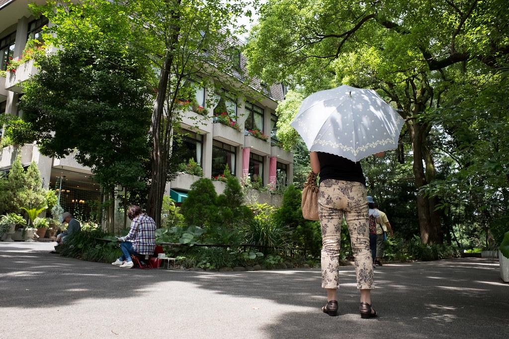 日比谷公園で日傘をさす女性 2016/07/23 X7001231
