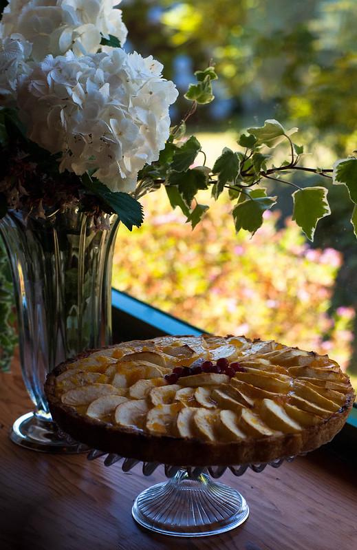 Tarta de manzana y crema pastelera