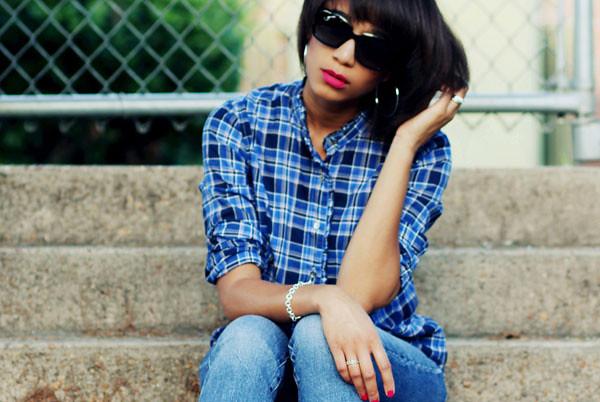 plaid shirt blue jeans