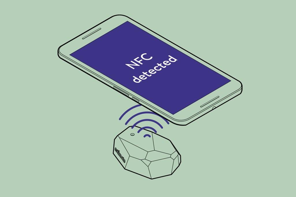 Esquema de un beacon NFC de Estimote