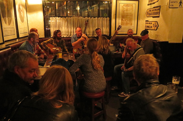 Musicians gather for a 'trad session' at Kelly's Cellar Pub in Belfast, Ireland, UK