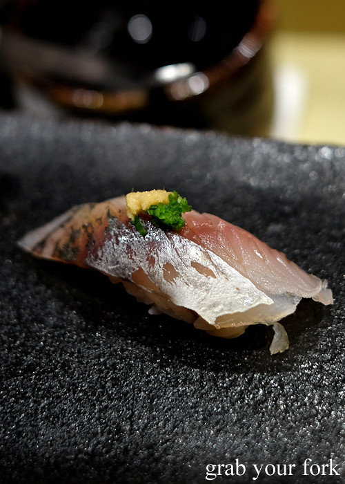 Yellowtail mackerel nigiri sushi at Hana Ju-Rin in Crows Nest Sydney