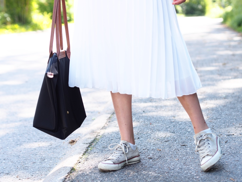 Asos white pleated midi skirt
