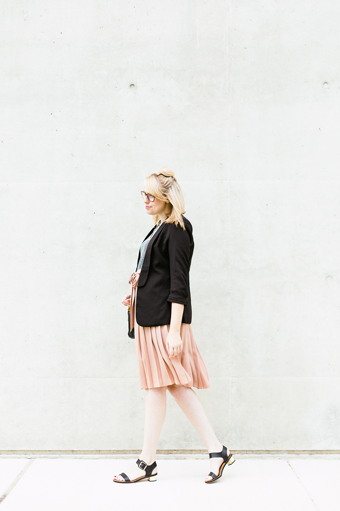 black blazer striped tank blush midi skirt3