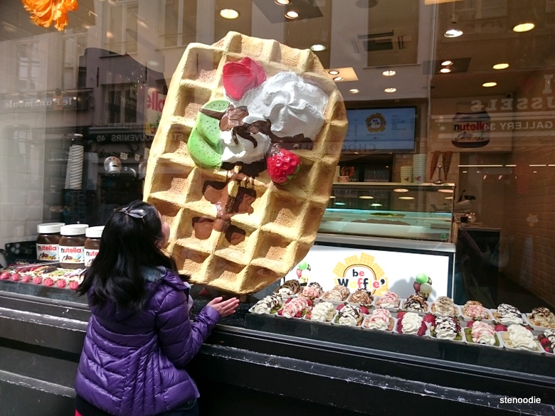huge waffle display in Brussels