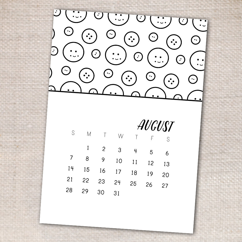 Printable Coloring Calendar Page
