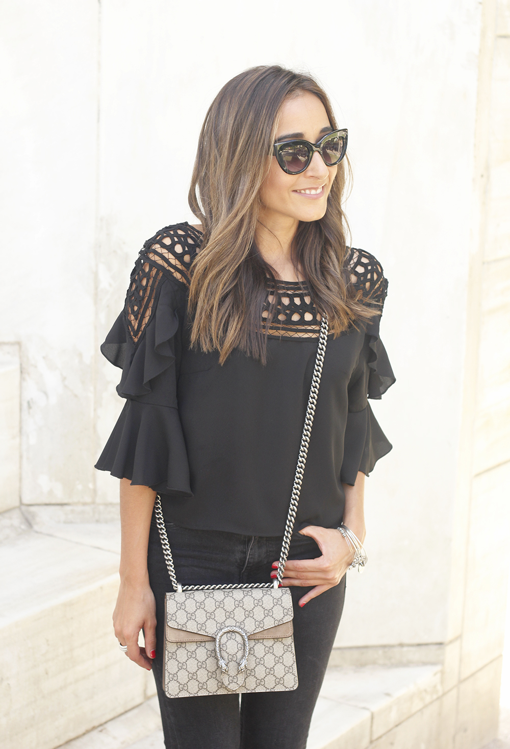 black top black jeans heels gucci bag sunnies outfit fashion style15