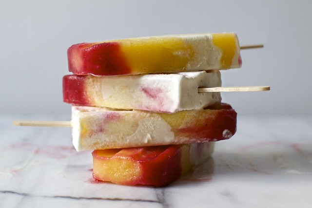 peach melba popsicles