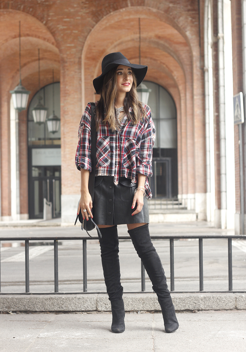 tartan shirt leather skirt over the knee boots accessories hat fashion outfit rainny day12