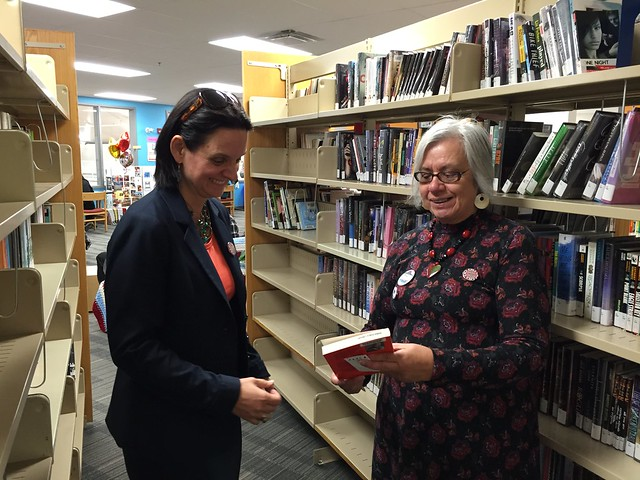 Minister Larivee and Linda Weasel Head, Kainai Public Library Manager