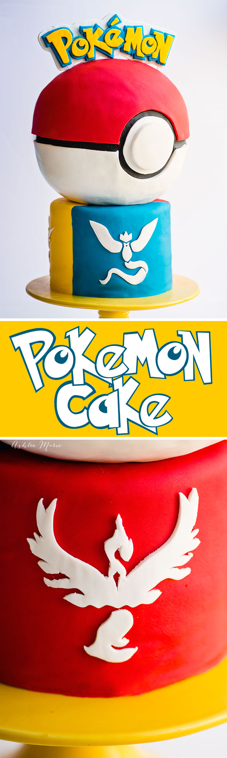 an easy video tutorial for making this pokeball and team pokemon go cake!