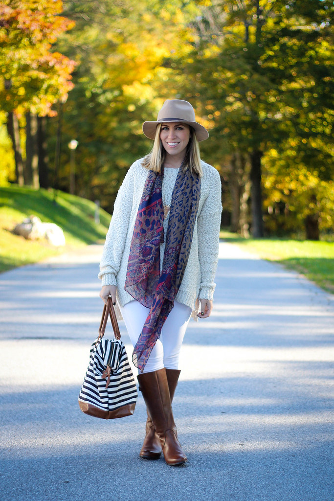 Fall Comfy Outfit White Jeans Cream Sweater Bornw Naturalizer Boots