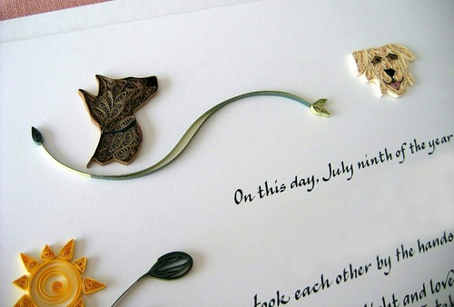 Quilled Woodland Marriage Certificate - Dogs Detail