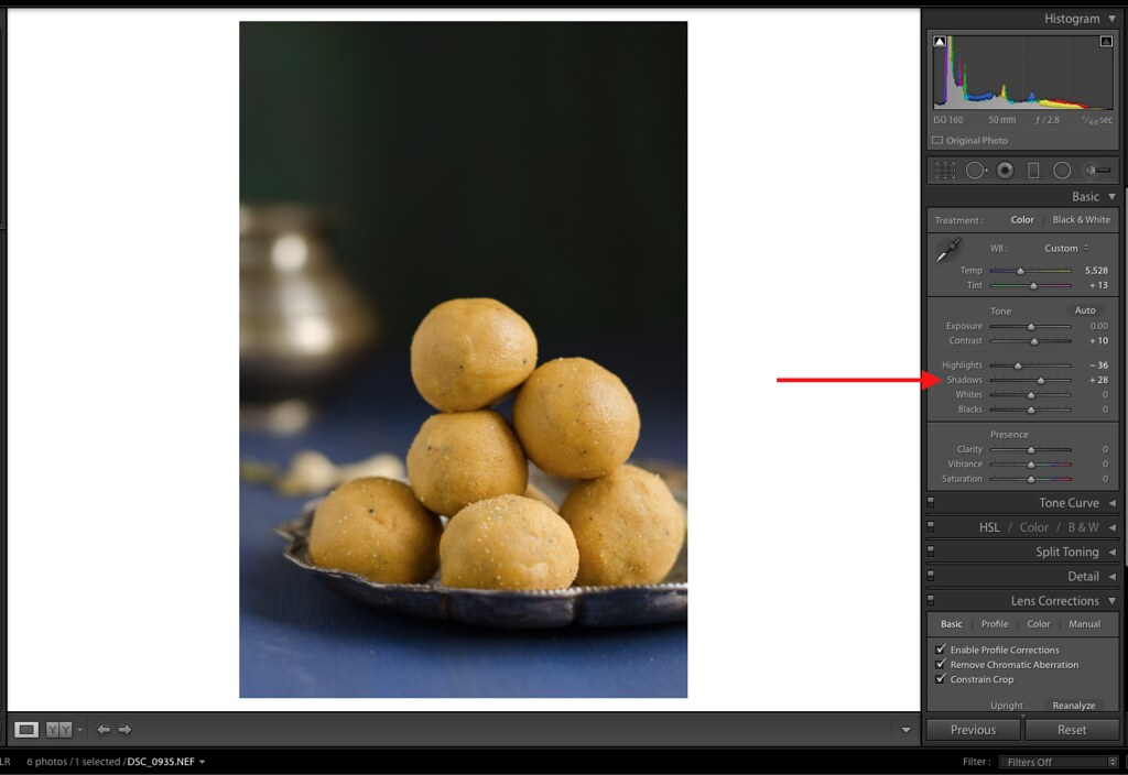 Shadows, Shadows in Lightroom, Lightroom Tutorial for Food photos, Lightroom tutorial, Editing RAW files in Lightroom,  Lightroom Food Tutorial, How to edit food photos in Lightroom,