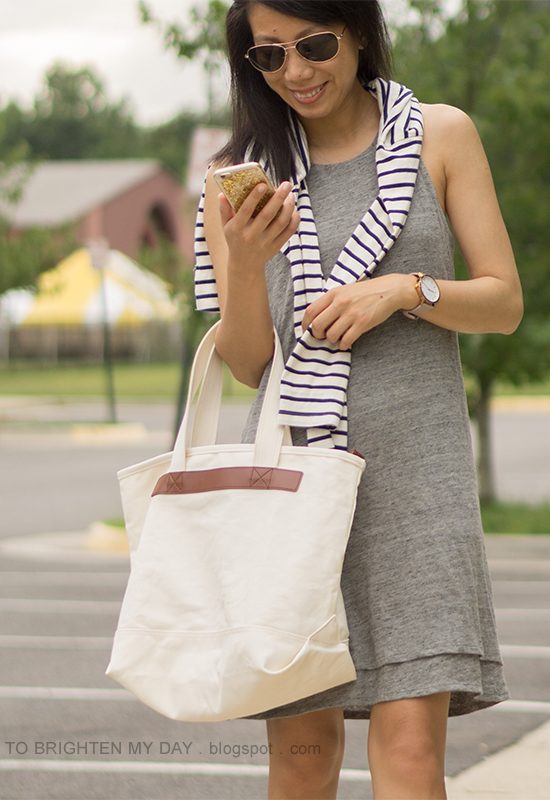navy striped top, gray tank tiered dress, oversized watch, canvas tote