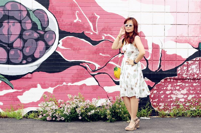 zaful-pineapple-print-dress-wedge-sandals-3