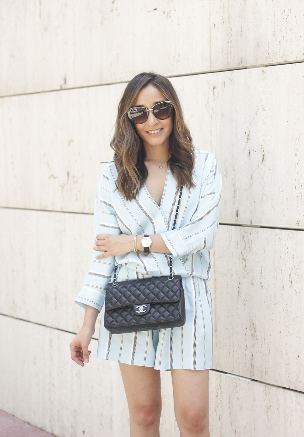 Maje Jumpsuit with stripes black heels chanel bag summer outfit street style fashion10