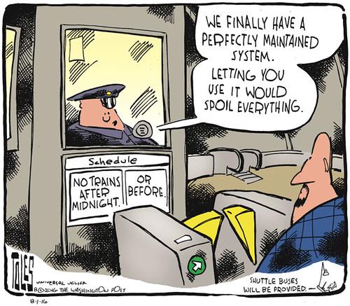 Tom Toles editorial cartoon, 8/1/2016, night service