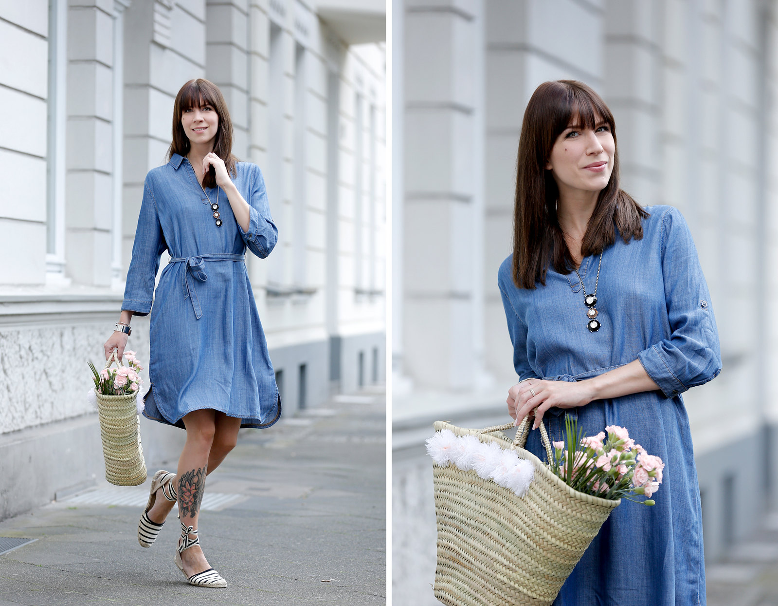 outfit triangle s.oliver blue denim dress espradrilles jane birkin beach bag flowers summer paris parisienne fashionblogger germany berlin brunette bangs chic cats & dogs fashionblog ricarda schernus modeblogger 4