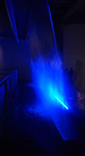 A 'waterfall' highlights the importance of good water to the brewing of beer The White Room in the Guinness Storehouse at St. James's Gate Brewery in Dublin, Ireland