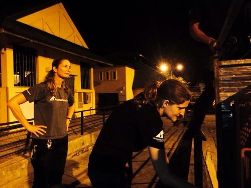 Bear and Vet Team Director Annemarie Weegenaar greets Yogi on arrival