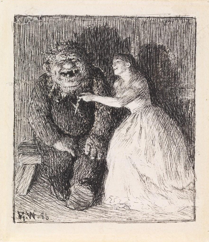 """NOR Så lo de så inderlig godt begge to, NOR Illustrasjon til """"Følgesvennen"""" i P. Chr. Asbjørnsen, Eventyrbog for Børn. Norske Folkeeventyr, København 1887"""