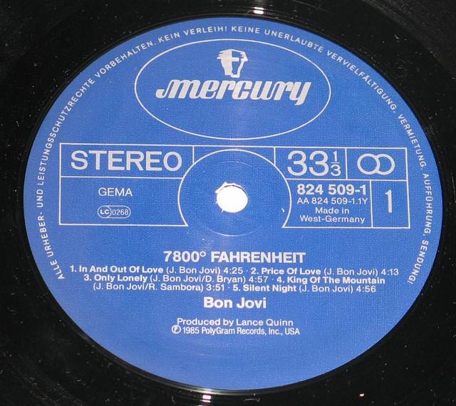 """Bon Jovi 7800° Fahrenheit Germany 12"""" vinyl LP"""