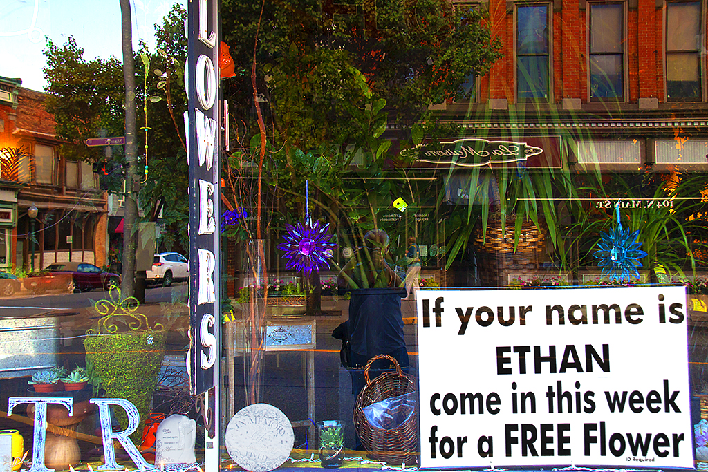 If your name is ETHAN come in this week for a FREE Flower--Chelsea (MI)
