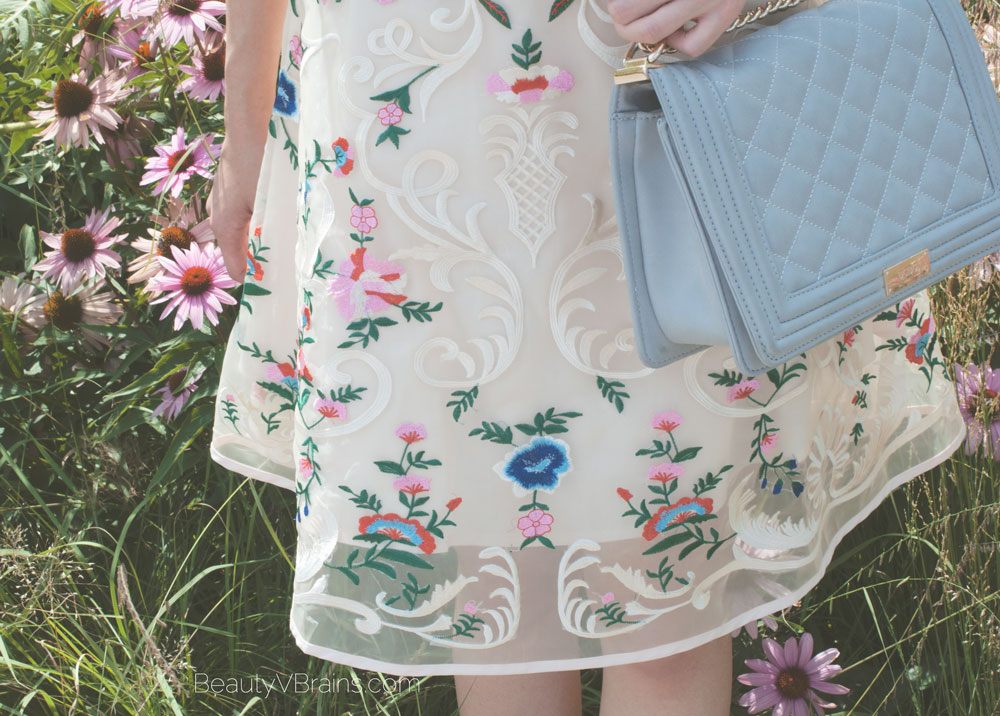 Chicwish garden embroidered organza dress and gray quilted crossbody