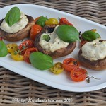 button mushrooms with tomatoes and ricotta