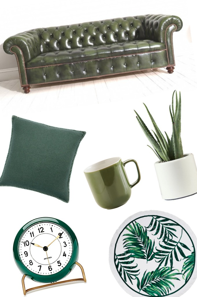 chesterfield sofas, the original sofa company, the original sofa co., katelouiseblog, green interiors, round towel, alarm clock, green mug,