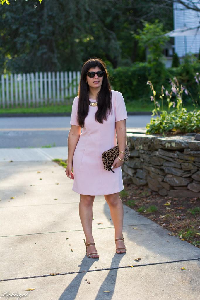 pink sheath dress, clair v leopard clutch, gorjana vista cuff-2.jpg