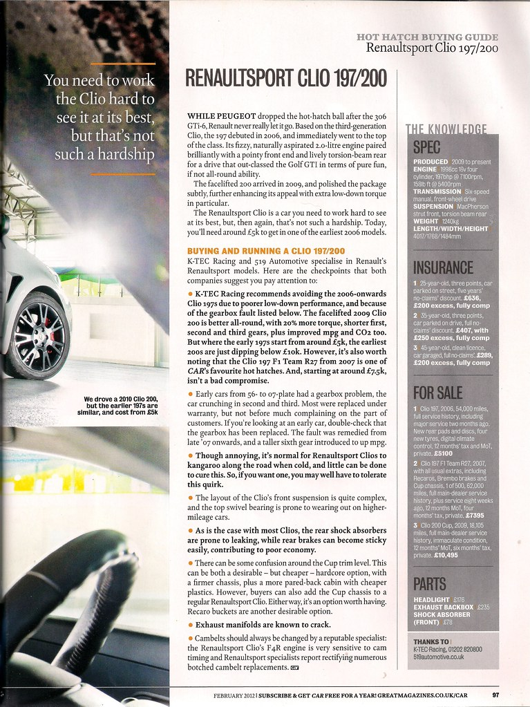 R S  Clio Buyers Guide - RenaultSportClub co uk