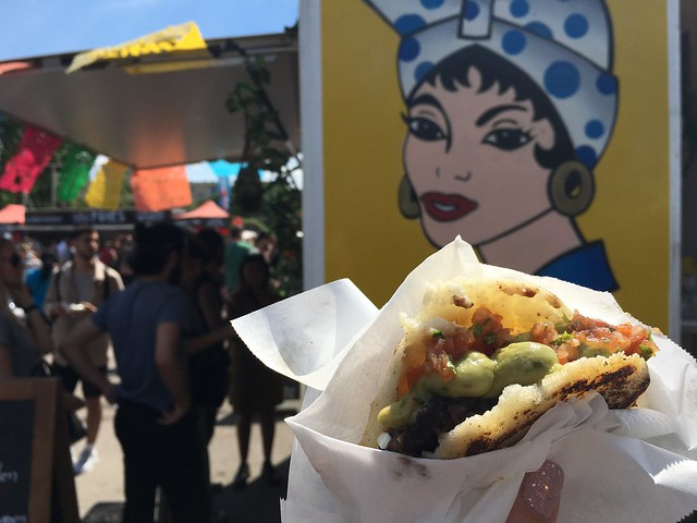Gluten-free arepa from El Carrito truck at Mauerpark Flohmarkt, Berlin