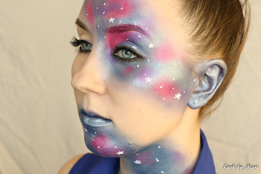 2 Galaxy halloween costume makeup