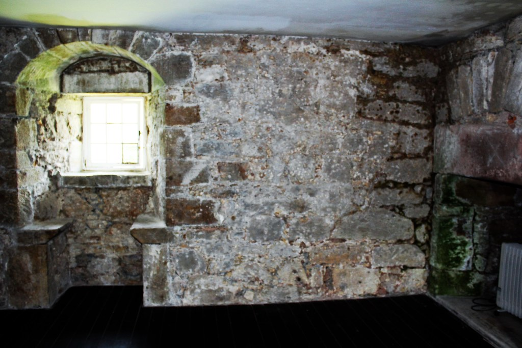 Inside Gilnockie Tower. Note green patches due to water ingress.