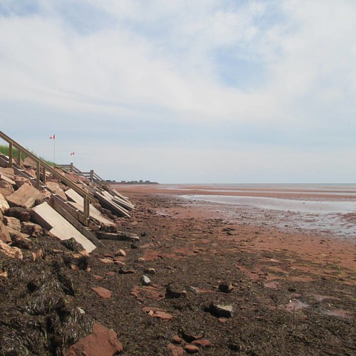 Stairs to the east #pei #victoria #victoriabythesea #beach #red #lowtide #northumberlandstrait #latergram