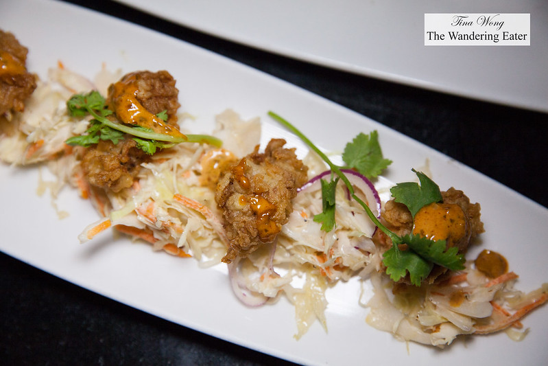 Buttermilk fried oysters, coleslaw, spicy remoulade