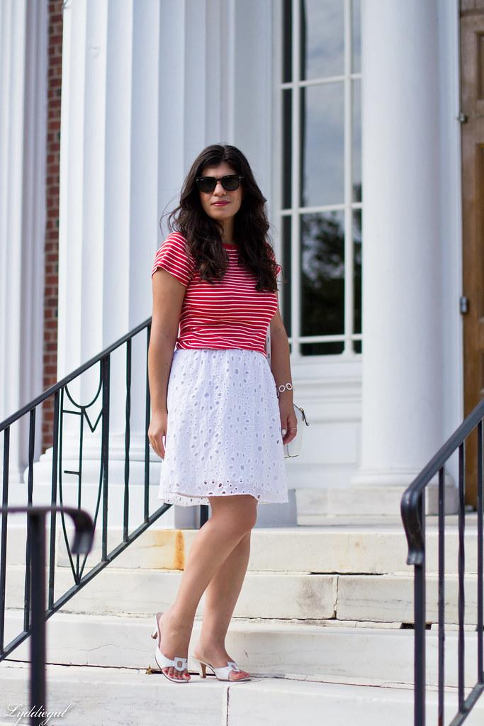 striped shirt, white eyelet lace skirt, ferragamo sandals-7.jpg